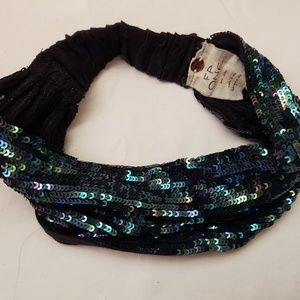 free people blue sequin head band